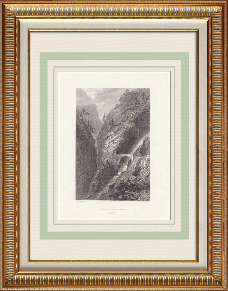Antika Tryck & Ritningar | Simplonpasset - Gondo - Kanton Valais (Schweiz) | Stålstick | 1836