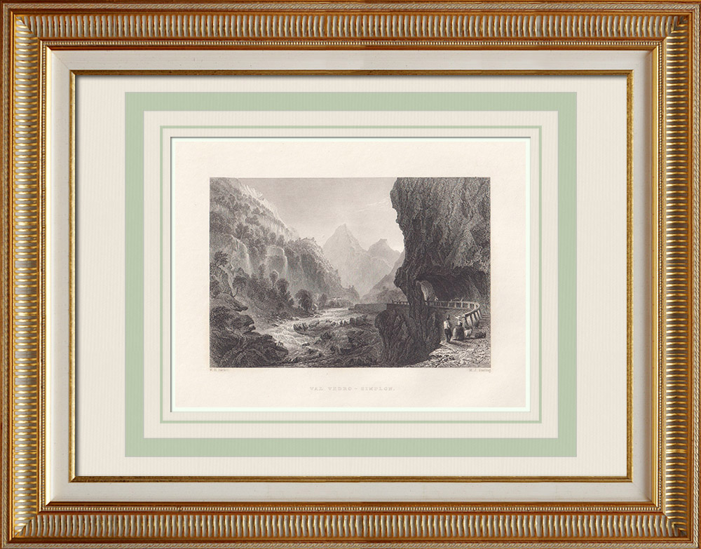 Antique Prints & Drawings | View of Divedro Valley - Simplon Pass - Canton of Valais (Switzerland) | Intaglio print | 1836
