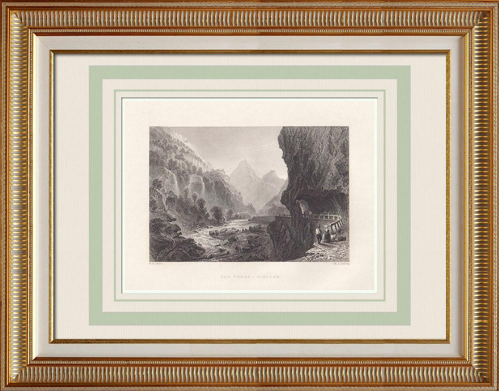 Antique Print & Etching | Ansicht von Val Divedro - Simplonpass - Kanton Wallis (Schweiz) | Stahlstich | 1836