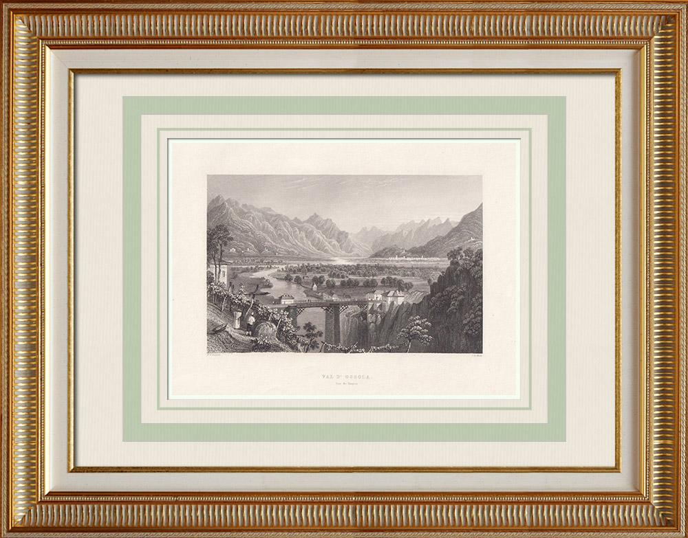 Antique Print & Etching | Ossolatal vom Simplon aus gesehen (Schweiz) | Stahlstich | 1836