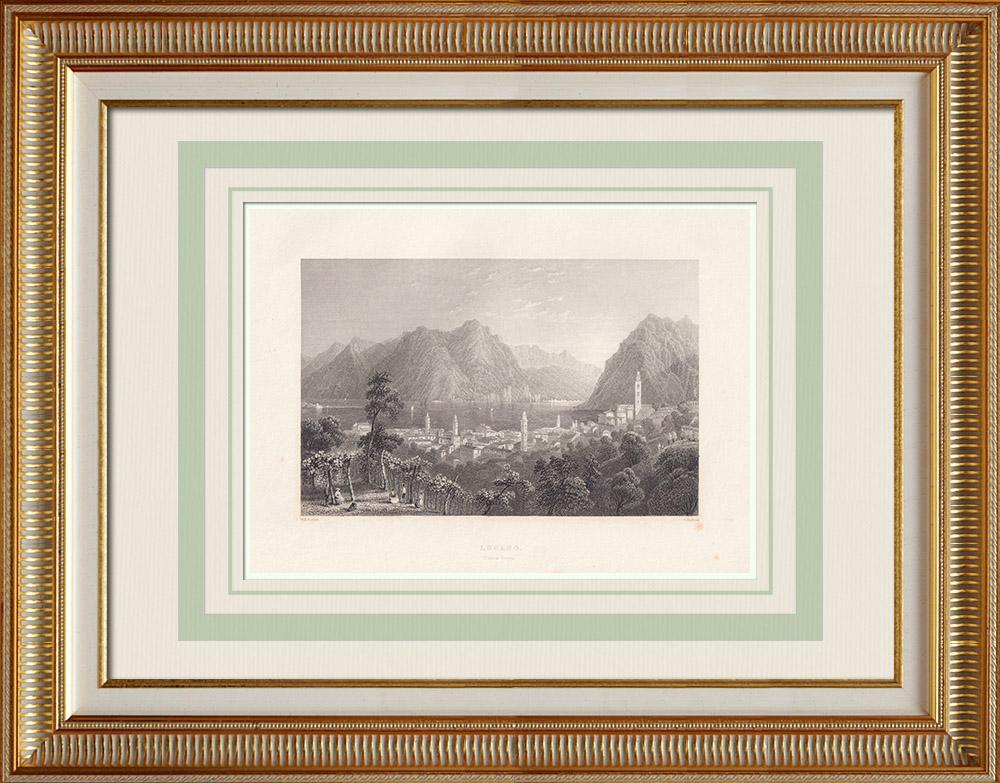Gravuras Antigas & Desenhos | Vista de Lugano - Monte San Salvatore - Lago - Cantão Tessino (Suíça) | Gravura em talho-doce | 1836