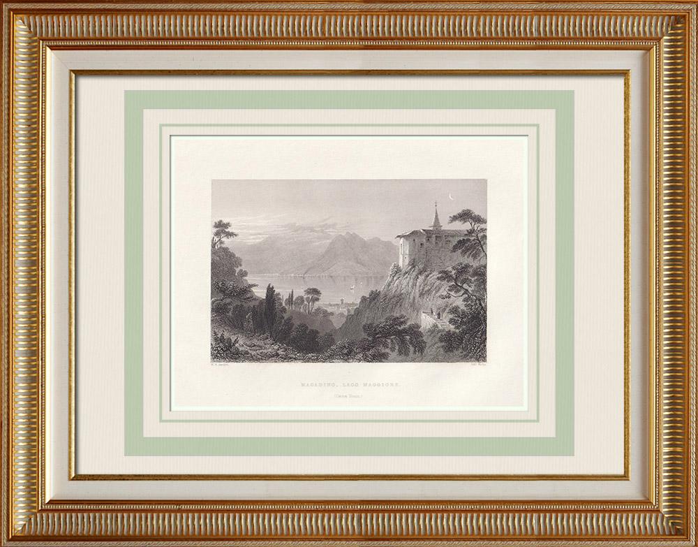 Gravures Anciennes & Dessins | Vue sur le lac Majeur depuis Magadino - Canton du Tessin (Suisse) | Taille-douce | 1836