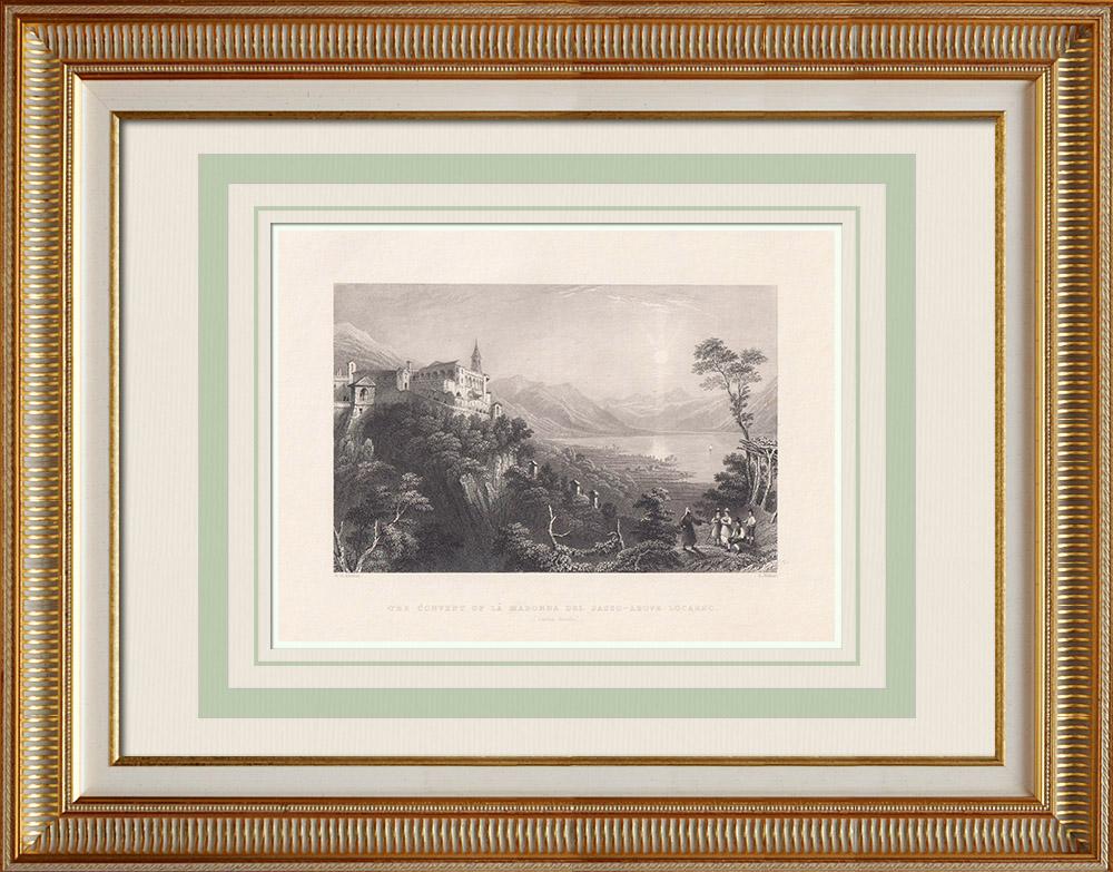 Antique Print & Etching | Kloster der Madonna del Sasso über Locarno - Kanton Tessin (Schweiz) | Stahlstich | 1836