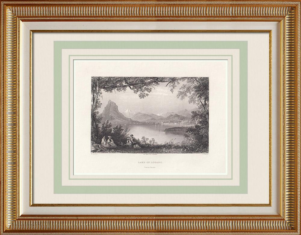 Gravuras Antigas & Desenhos | Lago de Lugano - Cantão Tessino (Suíça) | Gravura em talho-doce | 1836
