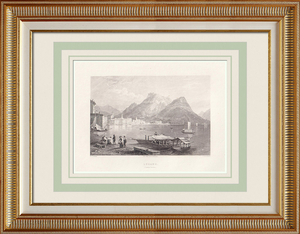 Grabados & Dibujos Antiguos | Vista de Lugano - Monte San Salvatore - Lago - Cantón del Tesino (Suiza) | Grabado en talla dulce | 1836