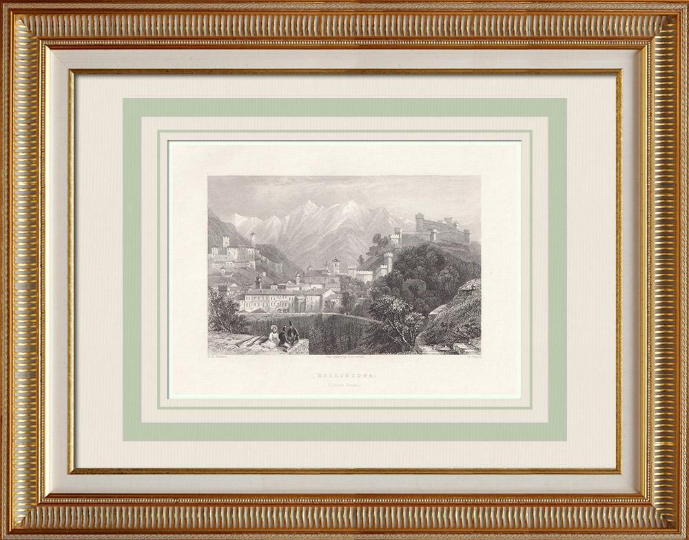 Grabados & Dibujos Antiguos | Vista de Bellinzona - Cantón del Tesino (Suiza) | Grabado en talla dulce | 1836