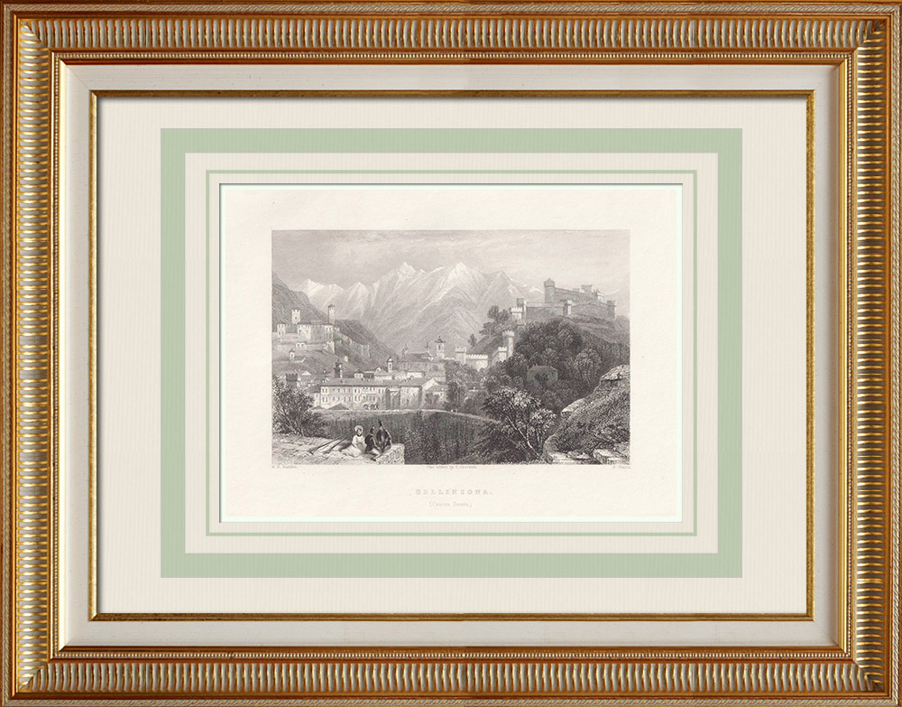 Stare Grafiki & Rysunki   Widok Bellinzona - Canton Ticino (Szwajcaria)   Staloryt   1836