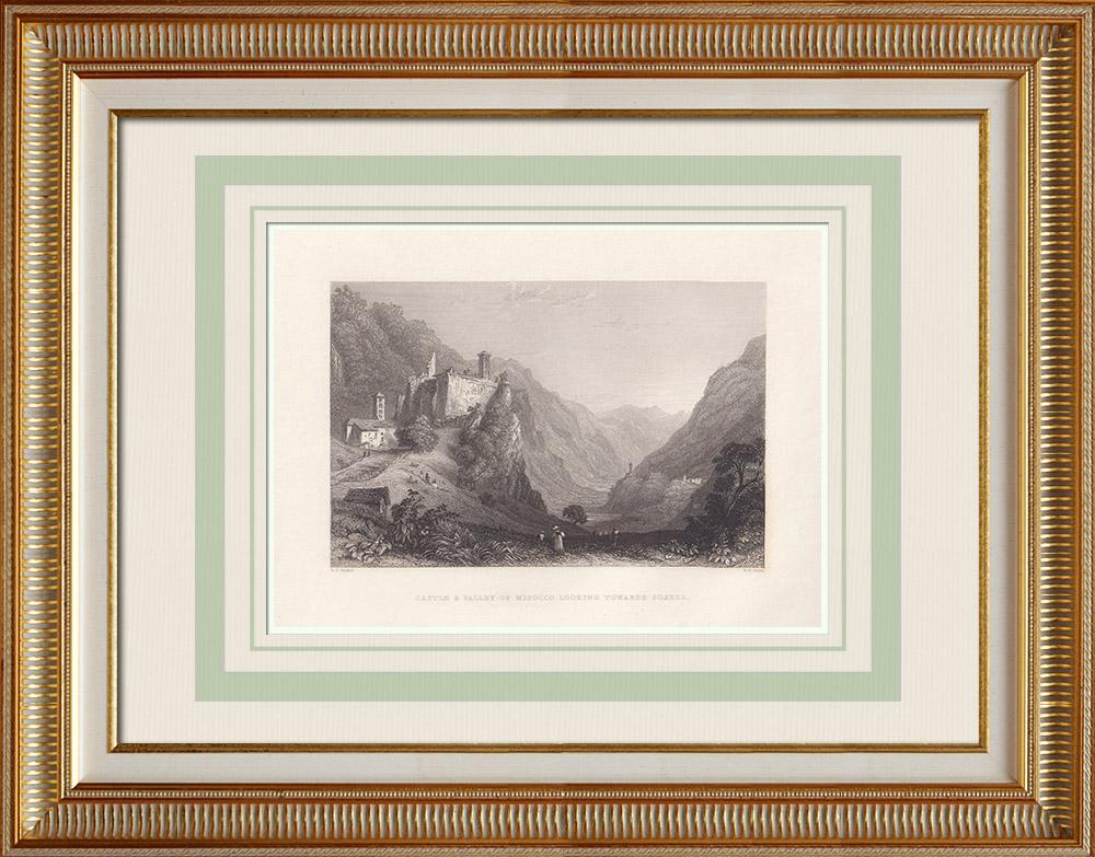 Stampe Antiche & Disegni | Castello di Mesocco - Mesolcina - Cantone dei Grigioni (Svizzera) | Stampa calcografica | 1836