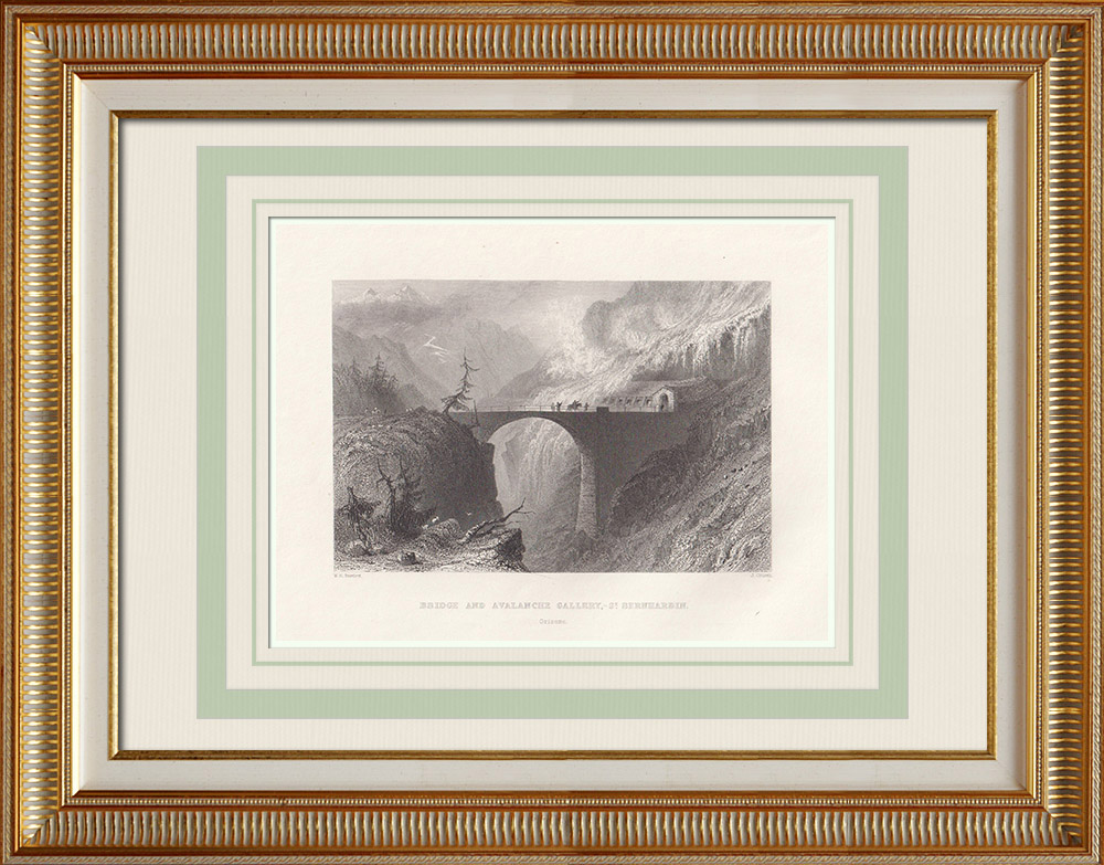 Antique Prints & Drawings | San Bernardino Pass - Bridge - Avalanche defense - Canton of Graubünden (Switzerland) | Intaglio print | 1836