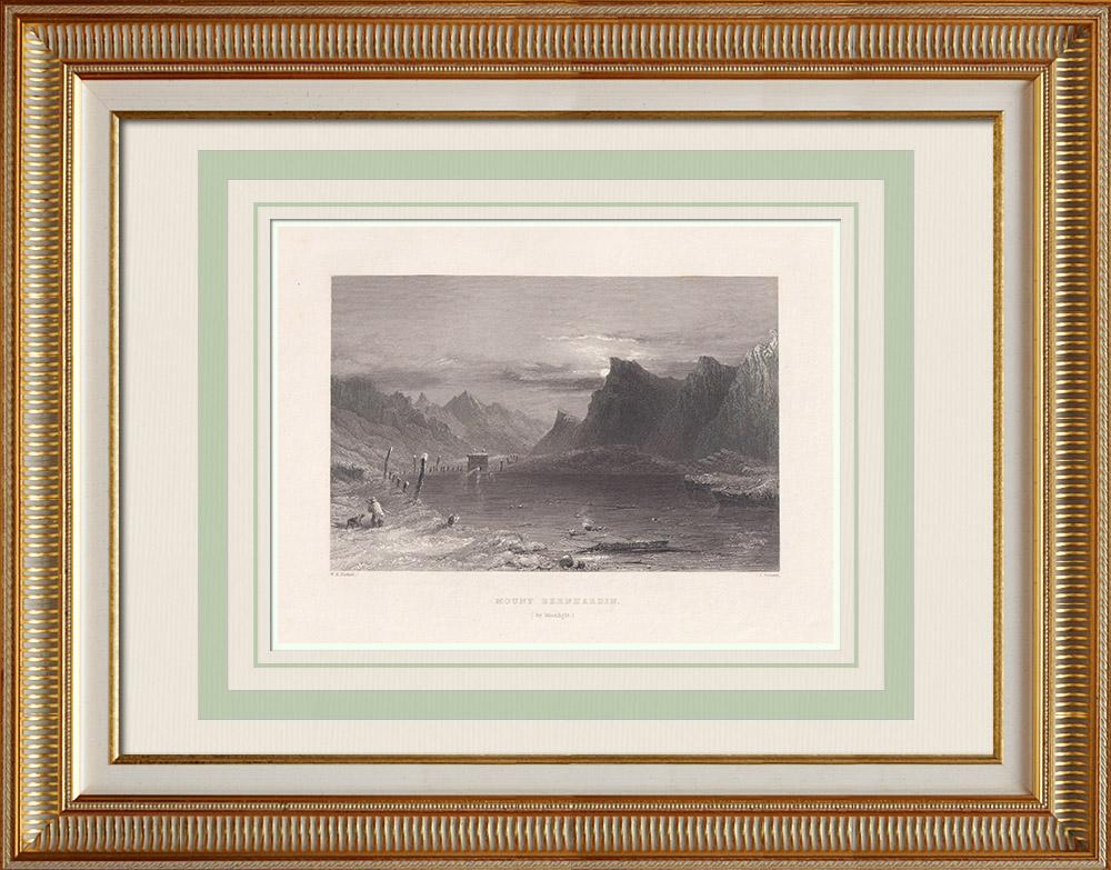 Oude Prenten & Tekeningen | San Bernardino bij Maanlicht - Kanton Graubünden (Zwitserland) | Staalgravure | 1836