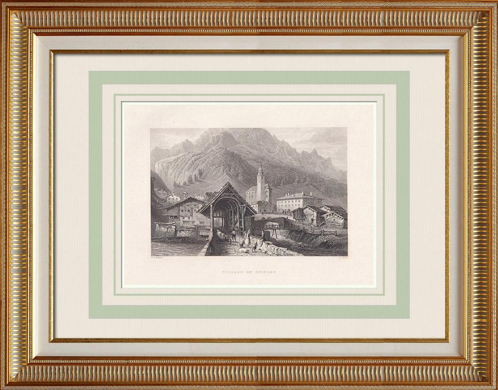 Grabados & Dibujos Antiguos | Vista de Splügen - Cantón de los Grisones (Suiza) | Grabado en talla dulce | 1836