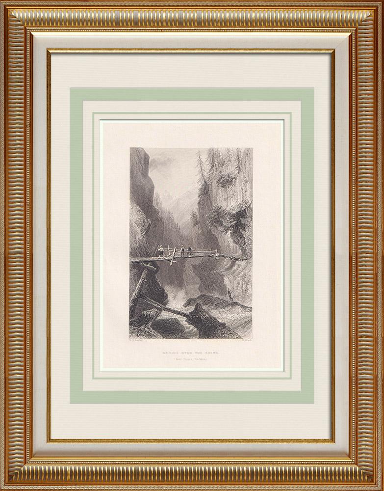 Grabados & Dibujos Antiguos | Vista de Via Mala - Puente del Rin - Cantón de los Grisones (Suiza) | Grabado en talla dulce | 1836