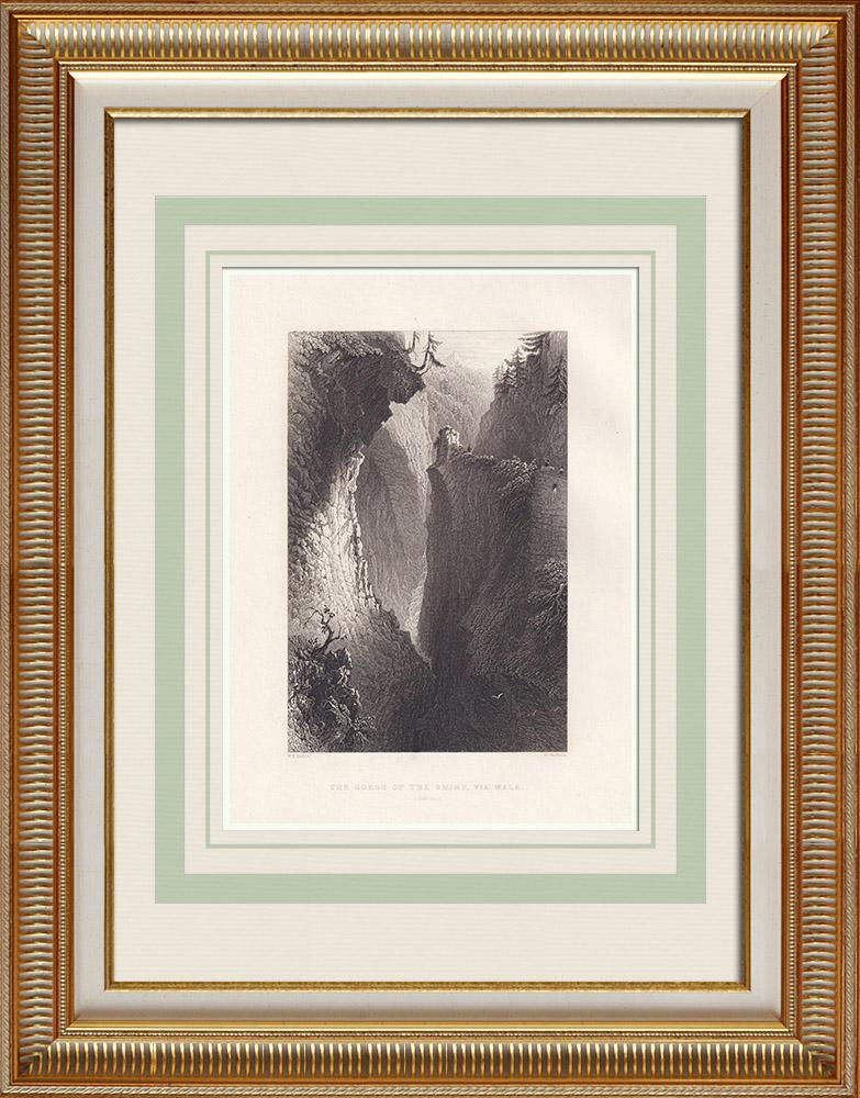 Oude Prenten & Tekeningen | Kloof van Viamala - Kanton Graubünden - Graubünden (Zwitserland) | Staalgravure | 1836