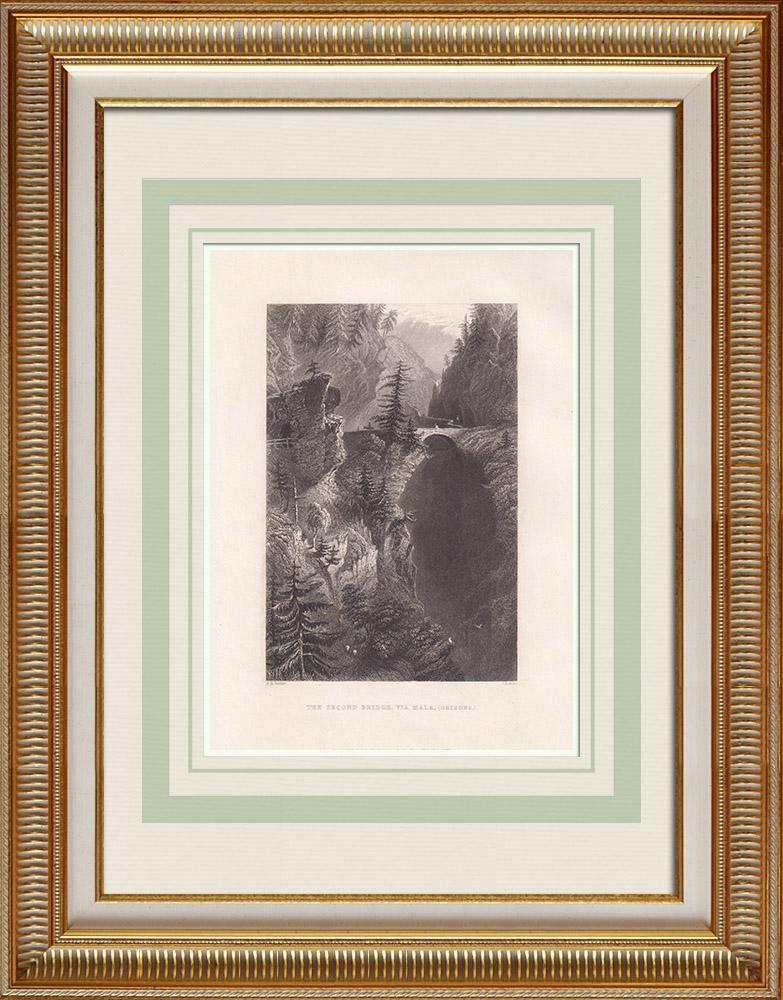 Gravures Anciennes & Dessins | Le deuxième pont de la Via Mala - Canton des Grisons (Suisse) | Taille-douce | 1836