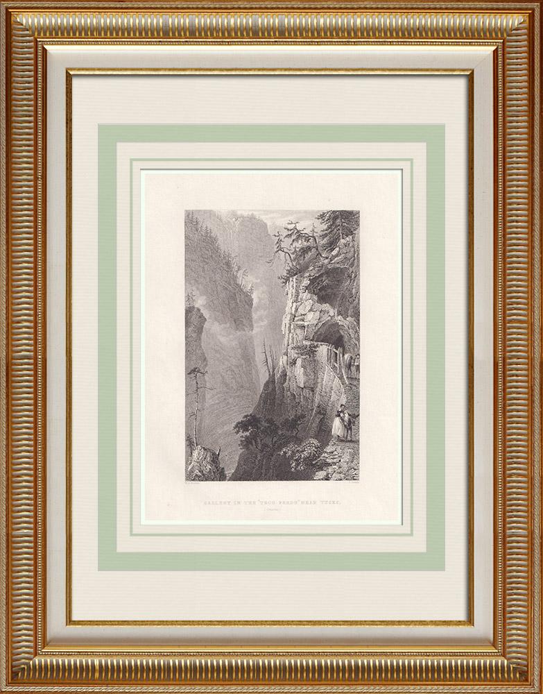 Gravures Anciennes & Dessins | Via Mala - Tunnel du Trou Perdu près de Thusis - Canton des Grisons (Suisse) | Taille-douce | 1836