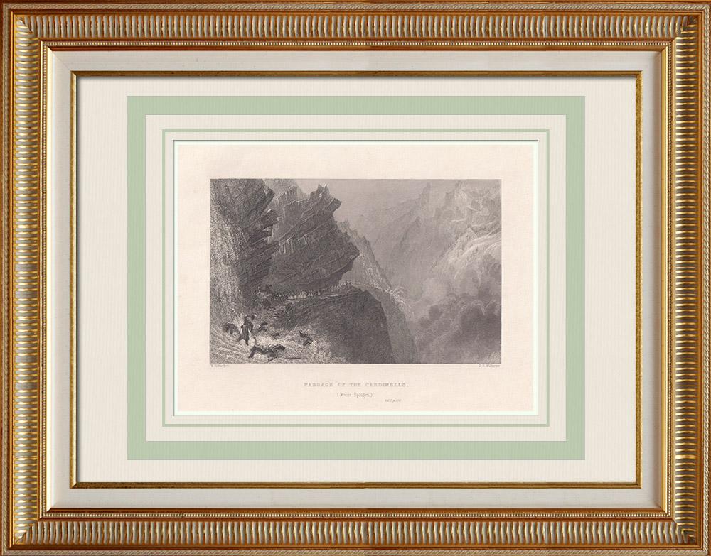 Antique Prints & Drawings | Cardinell - Splügen Pass - Alps - Canton of Graubünden - Grisons (Switzerland) | Intaglio print | 1836
