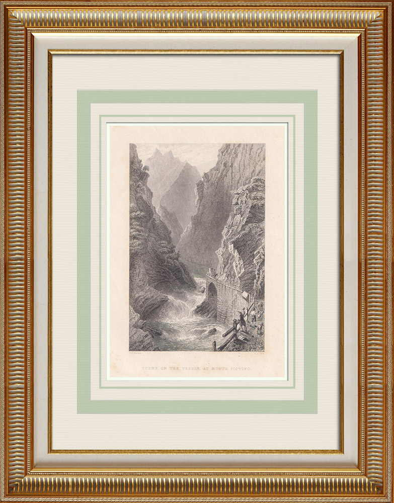 Antika Tryck & Ritningar | Monte Piottino-klyftan - Kanton Ticino (Schweiz) | Stålstick | 1836