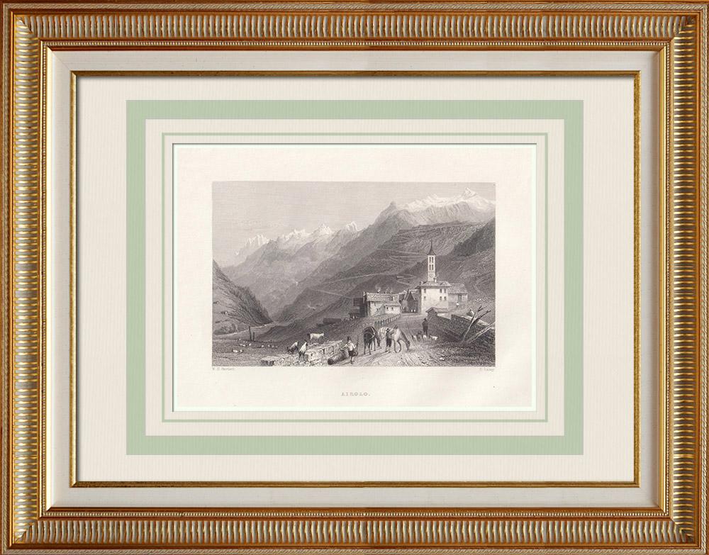 Gravuras Antigas & Desenhos | Vista de Airolo - Cantão Tessino (Suíça) | Gravura em talho-doce | 1836