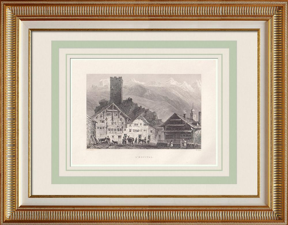 Grabados & Dibujos Antiguos | Vista de Hospental - Paso de San Gotardo - Cantón de Uri (Suiza) | Grabado en talla dulce | 1836