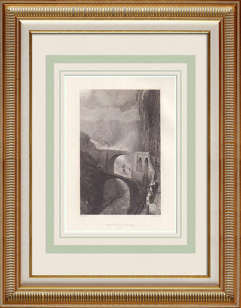 Antika Tryck & Ritningar | Devil's bridge - Sankt Gotthardpasset (Schweiz) | Stålstick | 1836