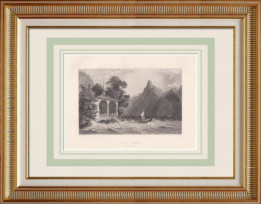 Gravures Anciennes & Dessins | Chapelle de Tell - Canton d'Uri (Suisse) | Taille-douce | 1836