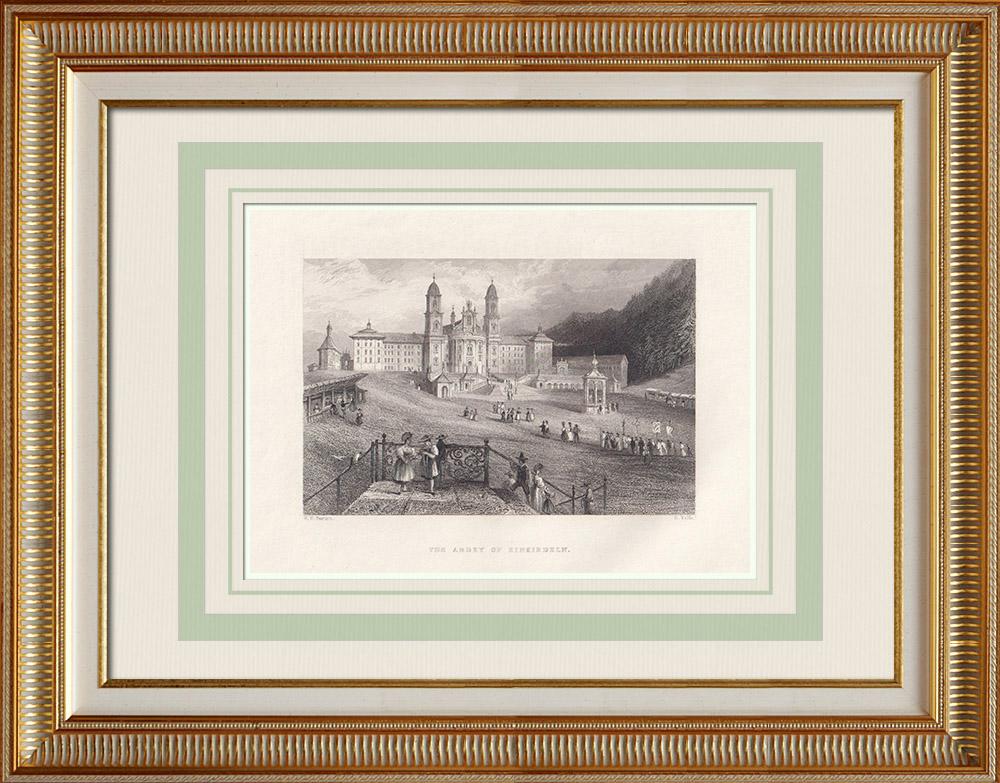Oude Prenten & Tekeningen   Einsiedeln Abdij - Kanton Schwyz (Zwitserland)   Staalgravure   1836