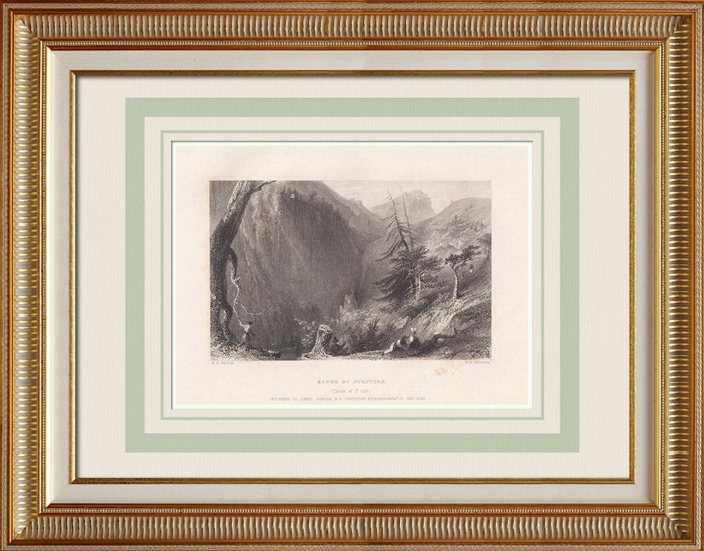 Gravures Anciennes & Dessins | Bains de Pfäfers - Ravin de Tamina - Canton de Saint-Gall (Suisse) | Taille-douce | 1836