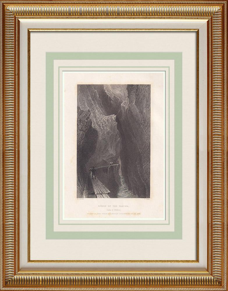Antique Print & Etching   Therme Bad Pfäfers - Tamina - Kanton St. Gallen (Schweiz)   Stahlstich   1836