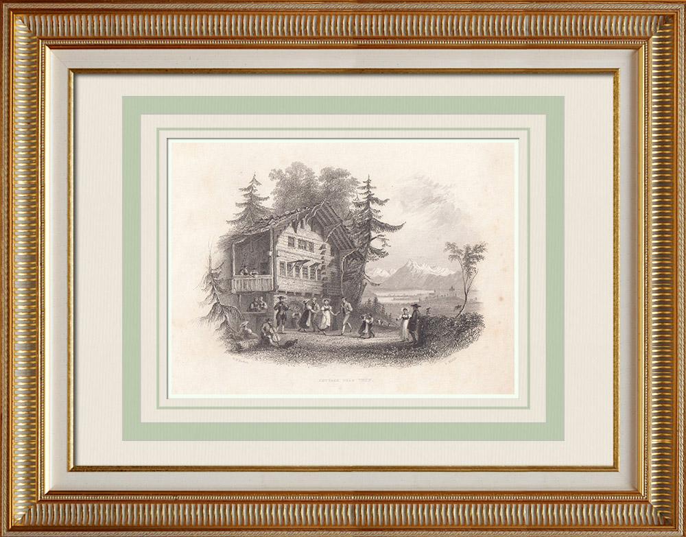 Gravures Anciennes & Dessins   Chaumière près de Thoune - Canton de Berne (Suisse)   Taille-douce   1836