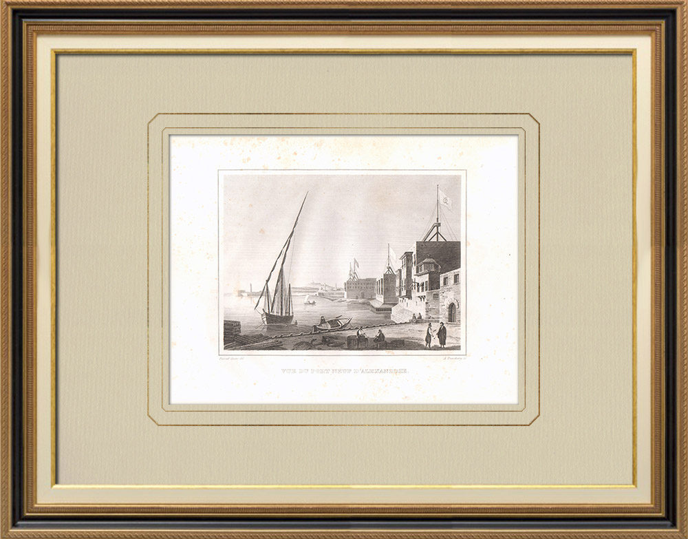 Antique Prints & Drawings | The New Port of Alexandria (Egypt) | Copper engraving | 1830