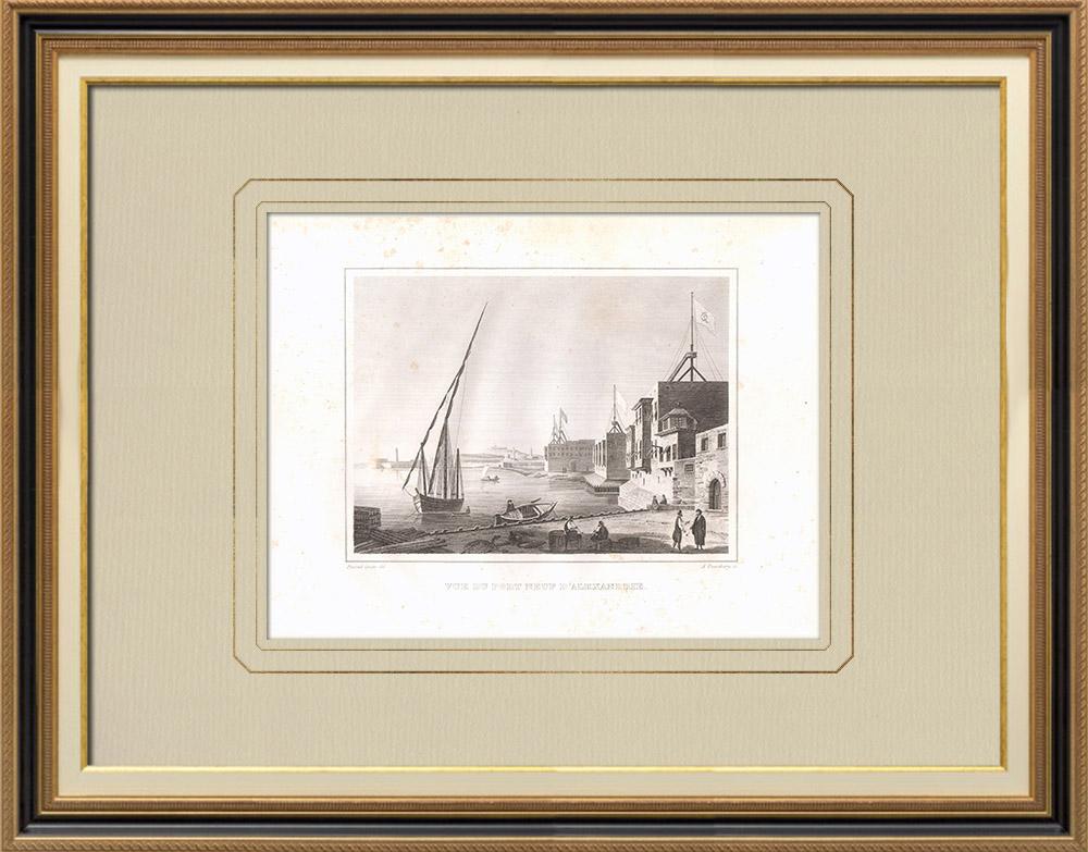 Oude Prenten & Tekeningen | De Nieuwe Haven van Alexandrië (Egypte) | Kopergravure | 1830