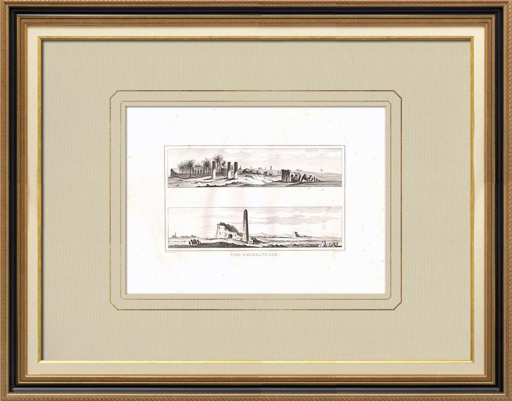Stare Grafiki & Rysunki | Widoki Aleksandrii (Egipt) | Miedzioryt | 1830