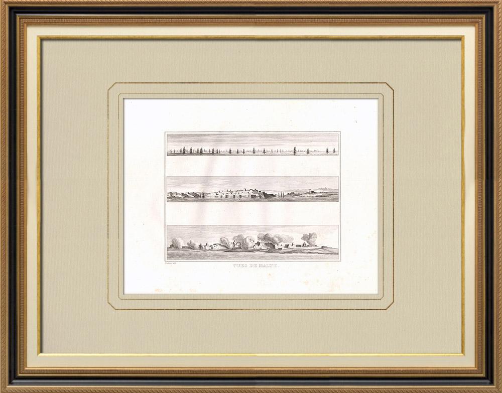 Oude Prenten & Tekeningen | Uitzicht op Malta | Kopergravure | 1830
