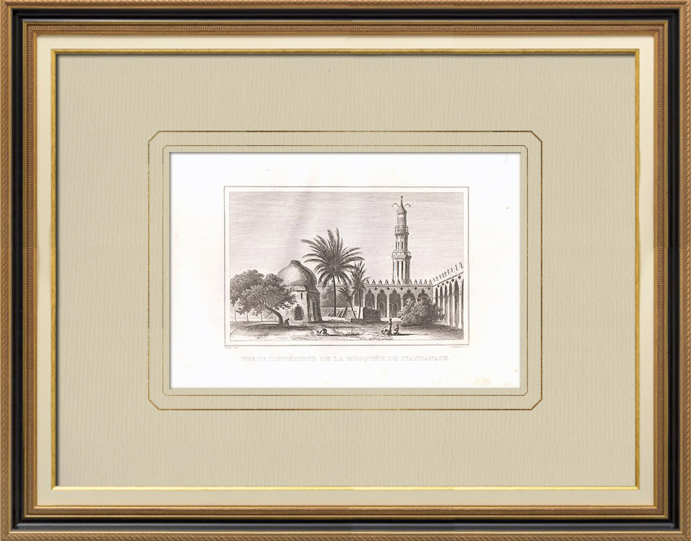 Antique Prints & Drawings | Interior of the St Athanasius Mosque in Alexandria (Egypt) | Copper engraving | 1830