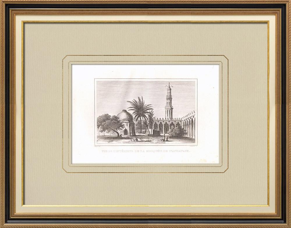 Oude Prenten & Tekeningen | Interieur van de Sint-Athanasius-moskee in Alexandrië (Egypte) | Kopergravure | 1830