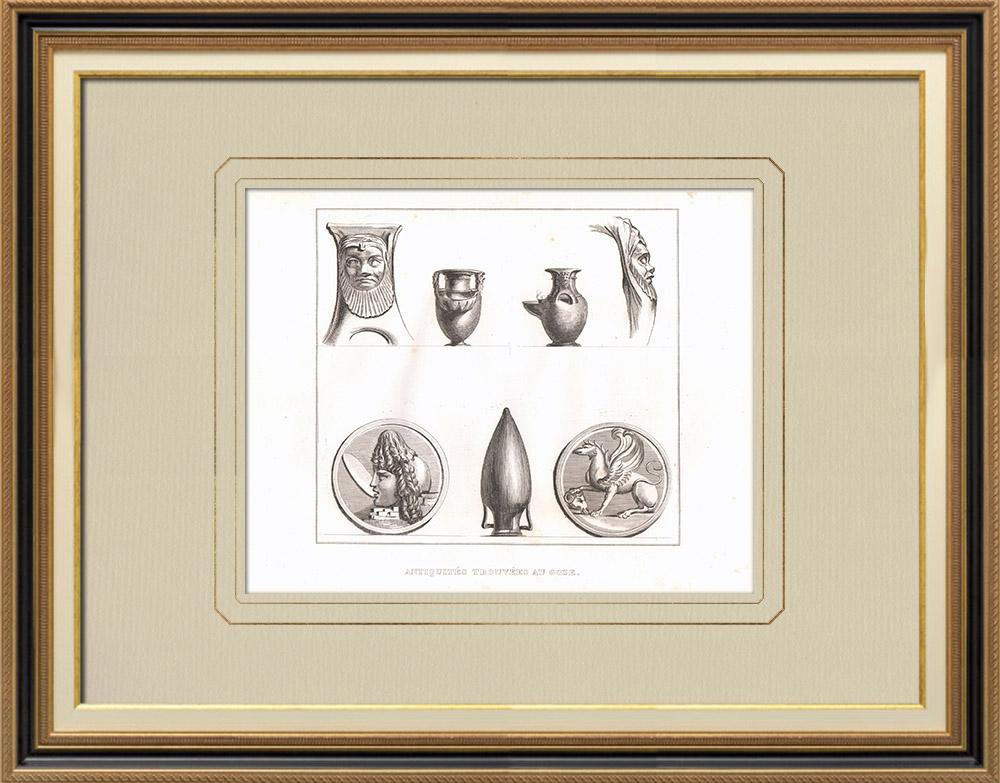 Gravures Anciennes & Dessins | Objets antiques trouvés dans l'île de Gozo (Malte) | Gravure sur cuivre | 1830