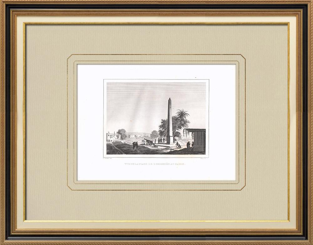 Antique Print & Etching | Ezbekiyeh Platz in Kairo (Ägypten) | Kupferstich | 1830