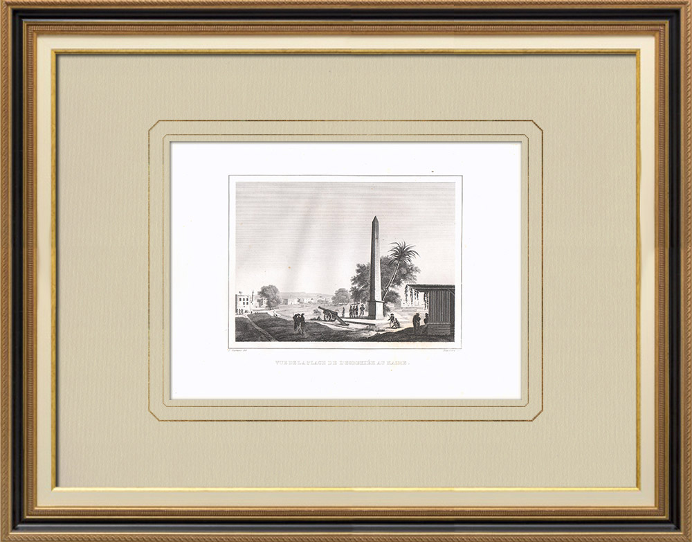 Antique Prints & Drawings | Ezbekiyeh public square in Cairo (Egypt) | Copper engraving | 1830