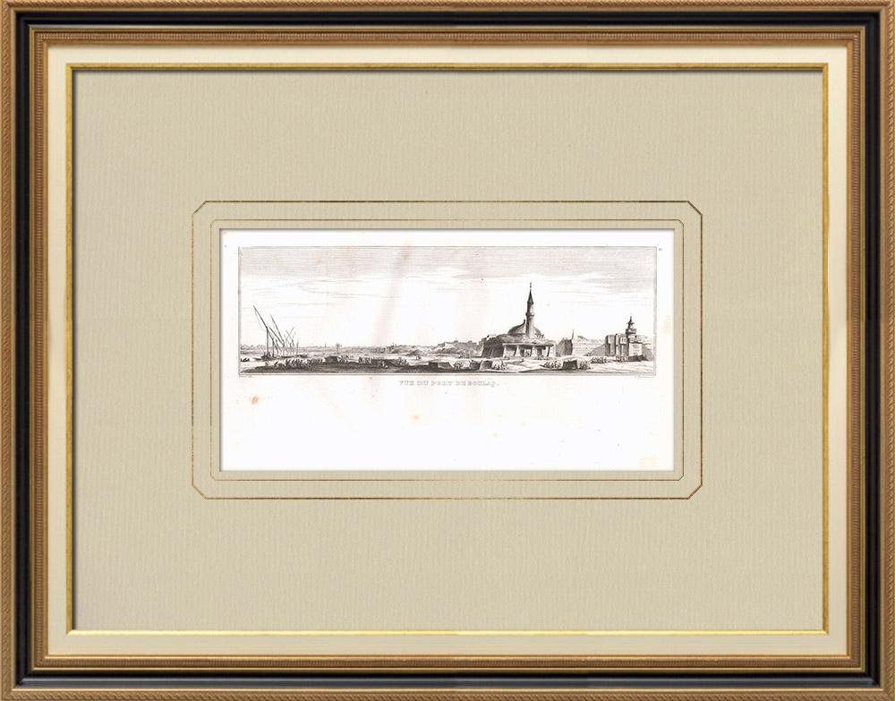 Stare Grafiki & Rysunki | Port Boulaq w Kairze - Nilu (Egipt) | Miedzioryt | 1830