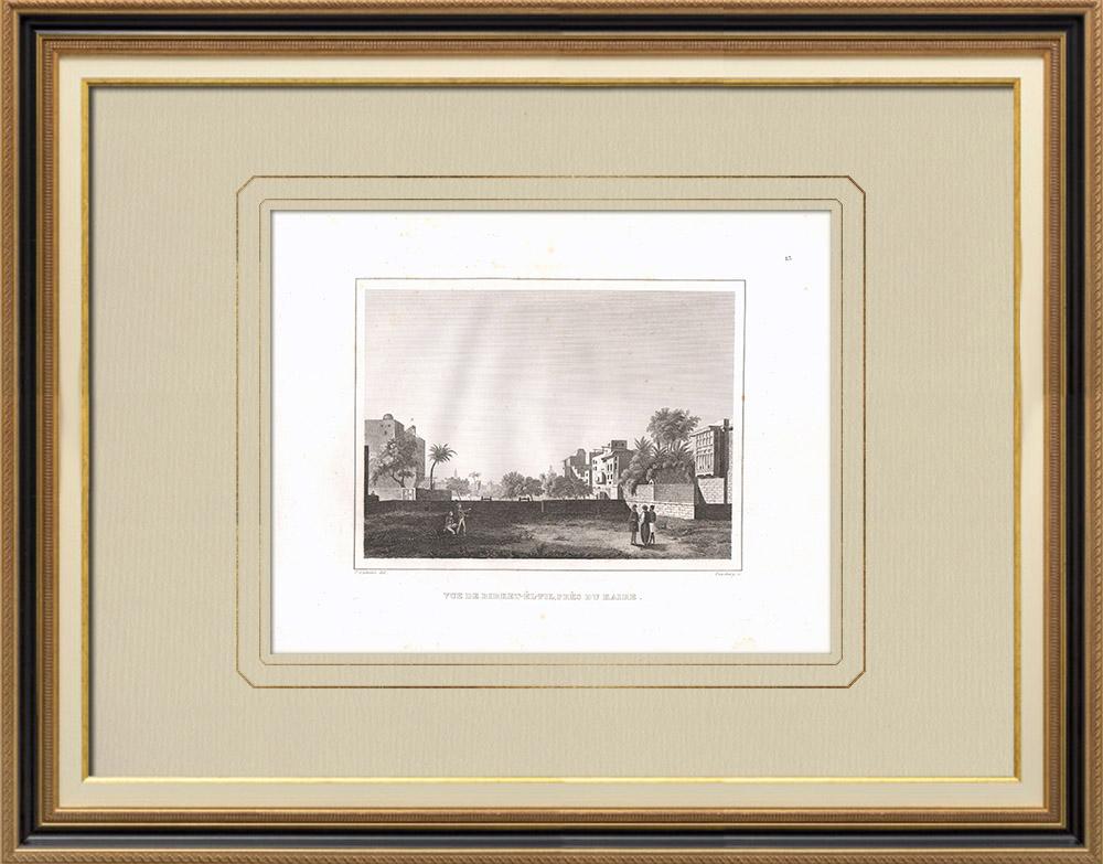 Stare Grafiki & Rysunki | Widok Birket el fil w Kairze (Egipt) | Miedzioryt | 1830