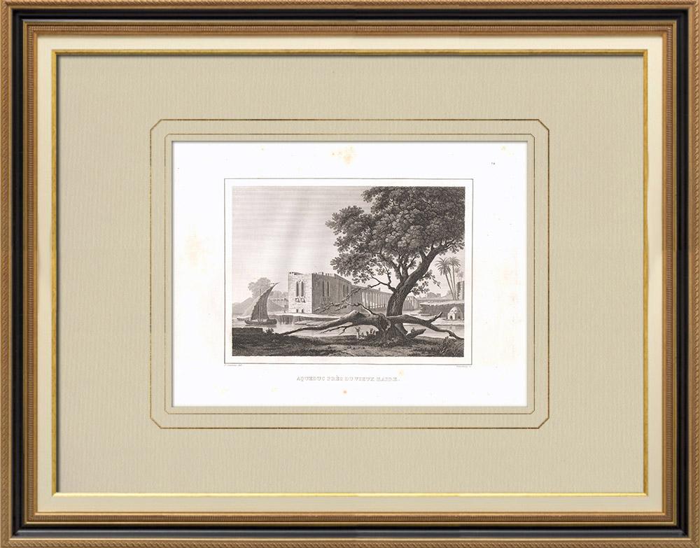 Oude Prenten & Tekeningen   Aquaduct in de Buurt van oud Caïro (Egypte)   Kopergravure   1830