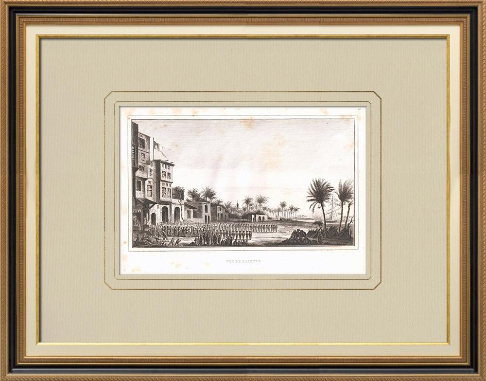 Gravures Anciennes & Dessins   Vue de Rosette - Rachid (Egypte)   Gravure sur cuivre   1830