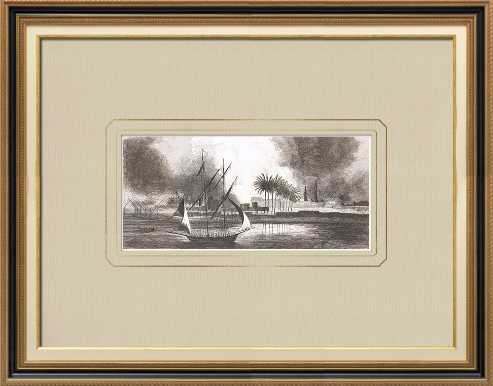 Antique Prints & Drawings | Burning in Salmyeh - Napoleonic wars (Egypt) | Copper engraving | 1830