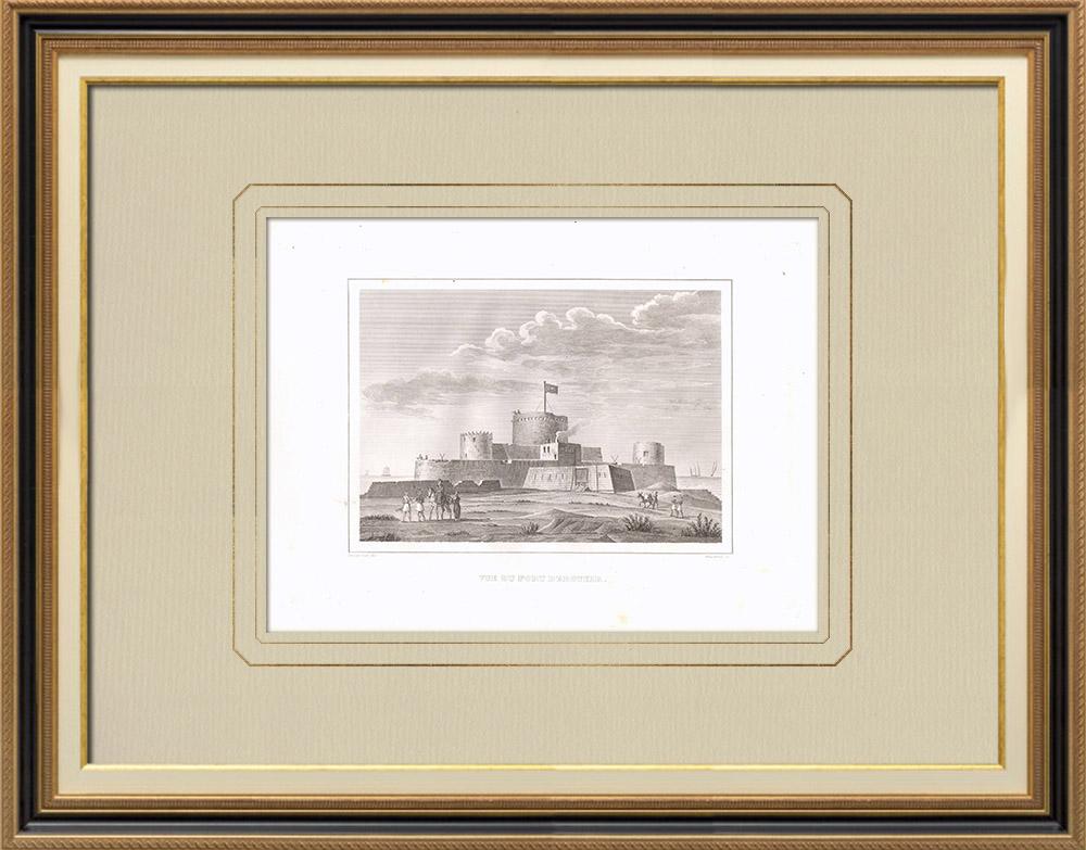 Stare Grafiki & Rysunki | Widok abu qir Fort (Egipt) | Miedzioryt | 1830