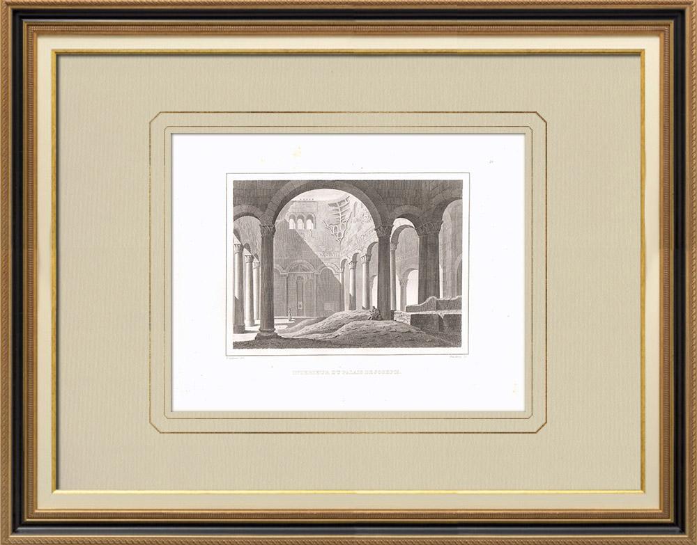 Antique Print & Etching | Innere des Josephs Palastes (Ägypten) | Kupferstich | 1830