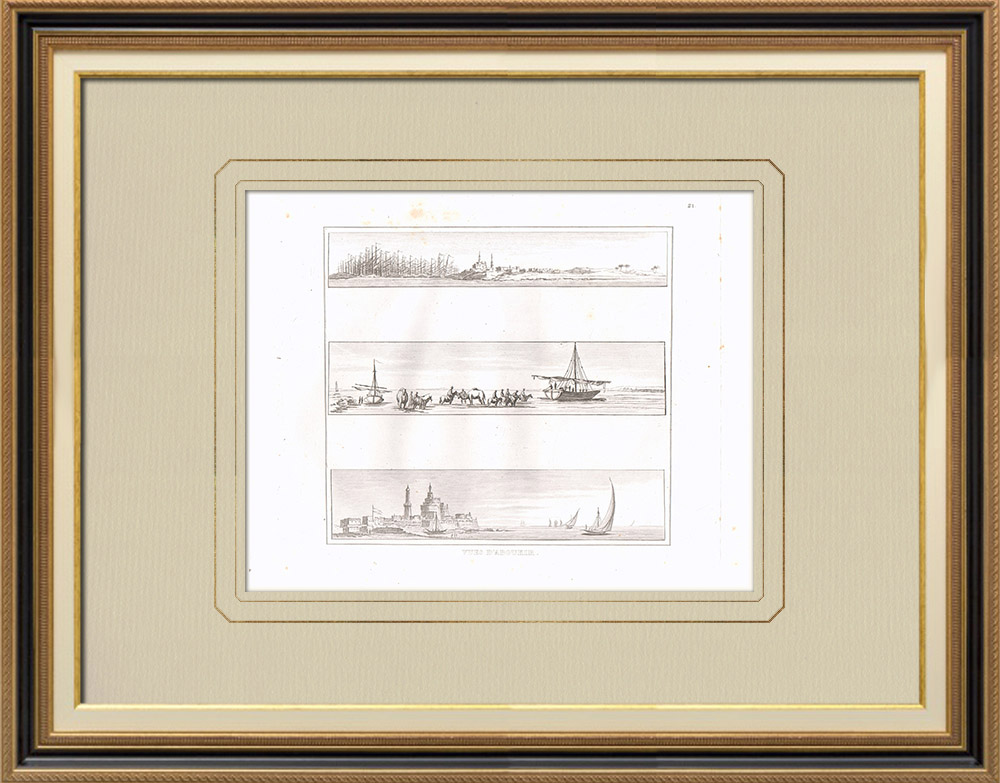 Grabados & Dibujos Antiguos | Vistas de Abukir (Egipto) | Grabado calcográfico | 1830