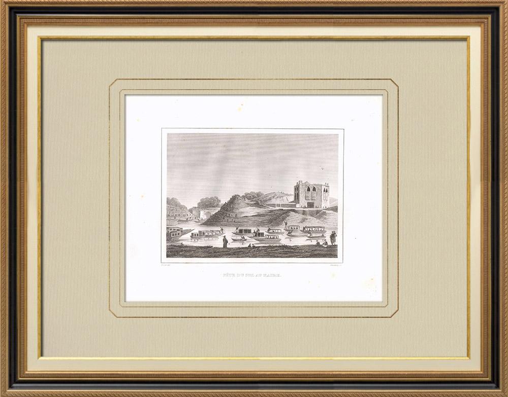 Grabados & Dibujos Antiguos | Festival del Nilo en el Cairo (Egipto) | Grabado calcográfico | 1830