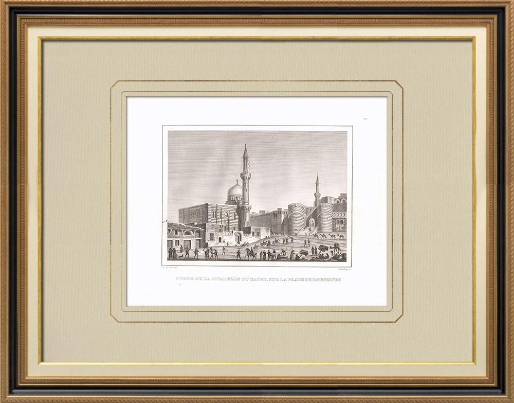 Grabados & Dibujos Antiguos | Ciudadela de El Cairo (Egipto) | Grabado calcográfico | 1830