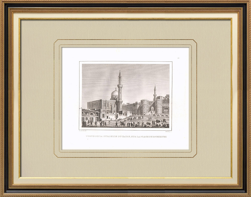 Antika Tryck & Ritningar | Citadell i Kairo (Egypten) | Kopparstick | 1830