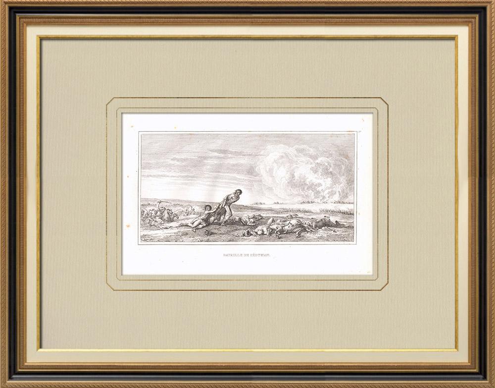 Gravuras Antigas & Desenhos | Batalha de Sédiman - Campanha de Egipto (1798) | Gravura em buril sobre cobre | 1830